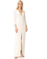Vestido de Noche con Recorte Blanco