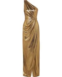 Vestido de noche con recorte dorado