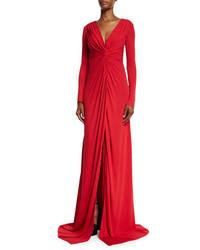 Vestido de Noche con Recorte Rojo de Badgley Mischka