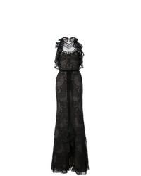 Vestido de noche de encaje con volante negro de Marchesa Notte