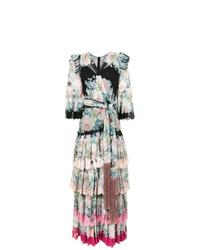 Vestido de noche de seda con print de flores en multicolor de Dolce & Gabbana