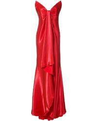 Vestido de Noche de Seda Rojo de Oscar de la Renta