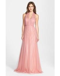 Vestido de noche de tul rosado