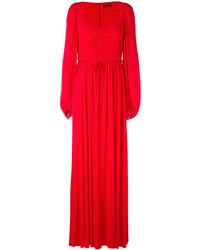 Vestido de Noche Plisado Rojo de Alexander McQueen