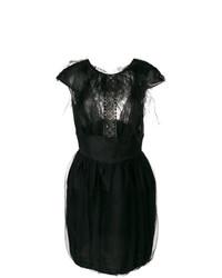 Vestido de vuelo con adornos negro de Valentino Vintage