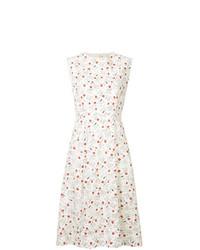 Vestido de vuelo con print de flores blanco de Marni