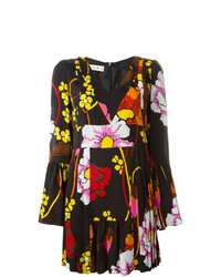 Vestido de vuelo con print de flores negro de Marni