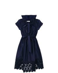 Vestido de vuelo de encaje azul marino de Lanvin