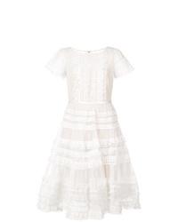 Vestido de vuelo de encaje blanco de Marchesa Notte