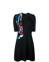Vestido de vuelo de lentejuelas negro de Louis Vuitton Vintage