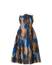Vestido de vuelo de seda estampado en multicolor de Marni