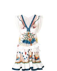 Vestido de vuelo estampado blanco de Chloé