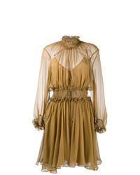 Vestido de vuelo marrón claro de Chloé