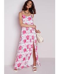Vestido en blanco y rosa