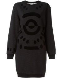 Vestido jersey con estampado geométrico negro