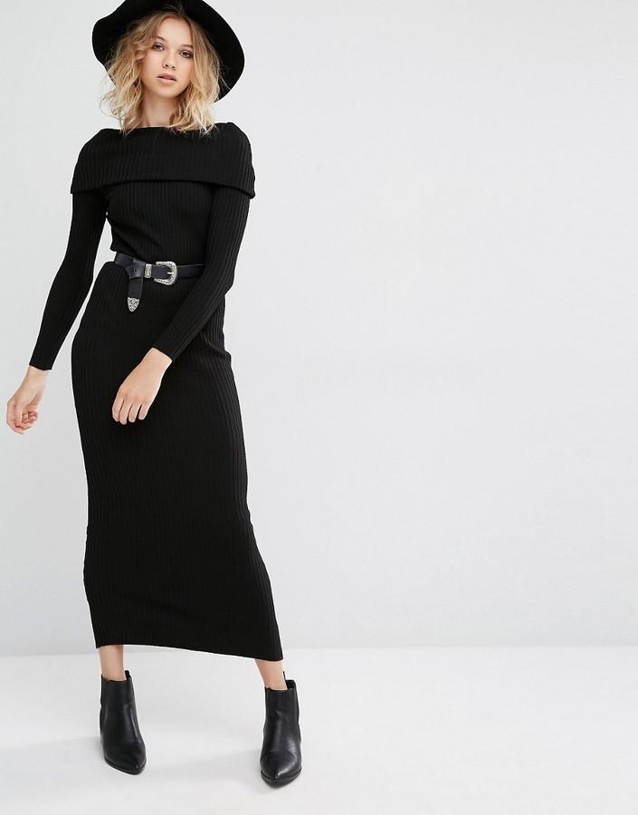 Vestido punto negro mango
