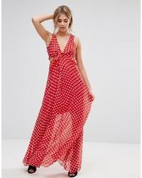 Vestido largo a lunares rojo