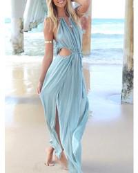 427163322e Cómo combinar un vestido largo celeste (4 looks de moda)