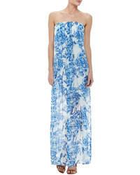 Vestido largo con print de flores azul