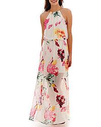 Vestido largo con print de flores blanco