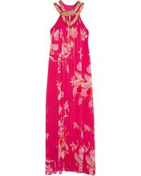 Vestido largo con print de flores rosa
