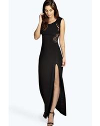 Vestido largo con recorte negro