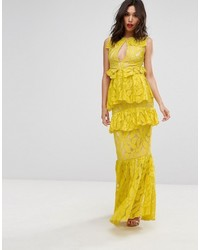 Vestido largo de encaje amarillo