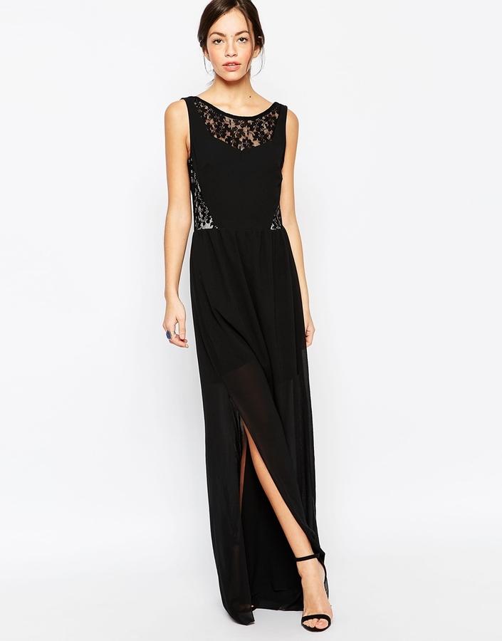 Como combinar vestido largo negro de encaje