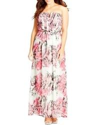 Vestido largo de gasa rosado