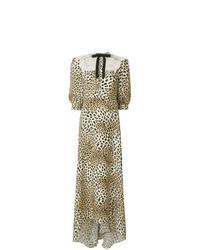 Vestido largo de leopardo marrón claro