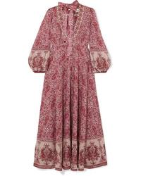Vestido largo de paisley burdeos