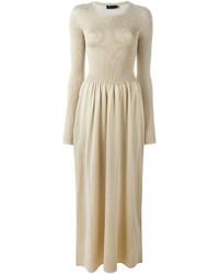 a2e9d244d Comprar un vestido largo de punto en beige  elegir vestidos largos ...