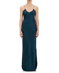Vestido largo de satén en verde azulado