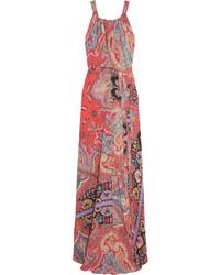 Vestido largo de seda estampado rojo