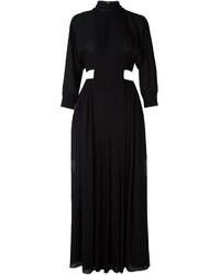 Vestido Largo de Seda Plisado Negro de Fendi