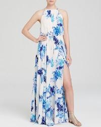 7387d97e25 Comprar un vestido largo estampado en blanco y azul  elegir vestidos ...
