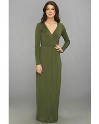 Vestido largo verde oliva