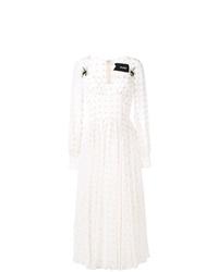 Vestido midi a lunares blanco de Parlor