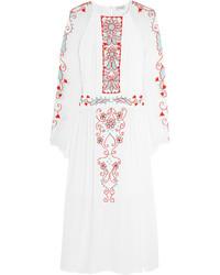 Vestido midi bordado blanco