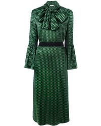 Vestido midi con estampado geométrico verde de Fendi