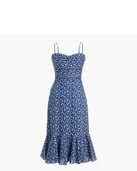 Vestido midi con print de flores azul