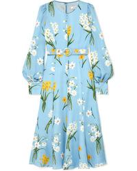 Vestido midi con print de flores celeste