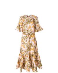 Vestido midi con print de flores en beige de La Doublej