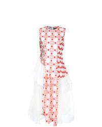 Vestido midi con print de flores en blanco y rojo
