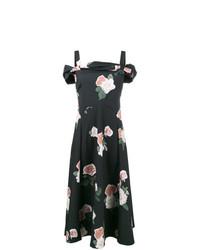 Vestido midi con print de flores negro de Rejina Pyo
