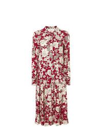 Vestido midi con print de flores rojo de La Doublej