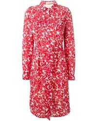 Vestido midi con print de flores rojo de Tory Burch
