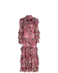 Vestido midi con print de flores rosa de Gucci