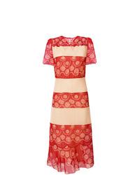 Vestido midi de encaje rojo de Maison Margiela