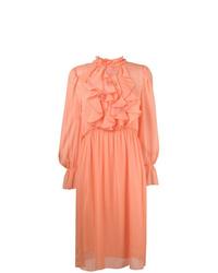 Vestido midi de gasa rosado de See by Chloe